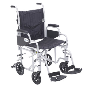 "Drive Poly Fly Light Weight Transport Chair Wheelchair with Swing away Footrests- 20"" Seat"
