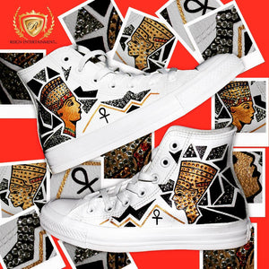 Women Custom Hand Painted Queen Sneakers with/crystals