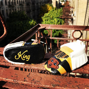Hand Painted Kings & Queens Baby Moccasins (Soft Black King or Red Queen Bottoms)