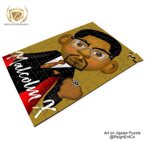 "Custom Art on Jigsaw Puzzle- ""Malcolm X"" 14"" x 9.5"""