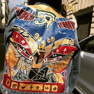 Men's Custom Hand Painted Ma'at Artwork on Denim WITH Over 2,000 SWAROVSKI CRYSTALS