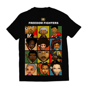 Men #Great365 Freedom Fighters Artwork in Color Collage on black tee