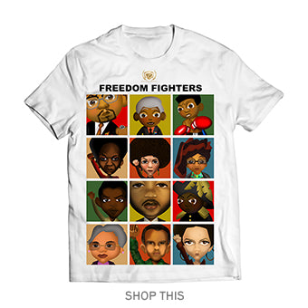 Toddlers #Great365 Freedom Fighters Artwork in Color Collage on white tee