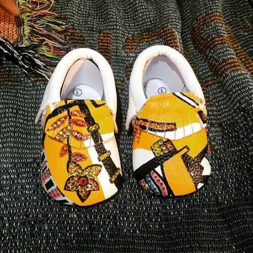 Copy of Alpha Girl Hand Painted Kings & Queens Baby Moccasins w/Crystals (Soft Black Bottoms)