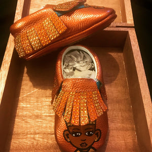 Hand Painted Level Up Kings & Queens Baby Moccasins (Hard Bottoms) Metallic Copper