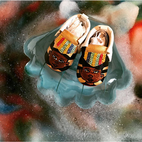 Hand Painted Kings & Queens Baby Moccasins (Soft Red Bottoms)