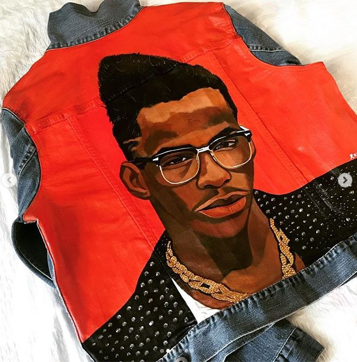 Women & Men Custom Hand Painted Bobby Brown Artwork on Denim/with Crystals
