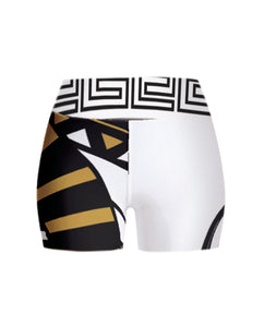 Black & White Abstract Yoga Shorts