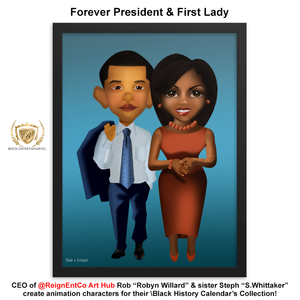"R.E.C. Black History Calendar Character Collection ""Mrs. Michelle & Barack Obama"""