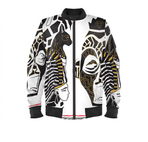 Black & Gold Abstract Bomber Jacket