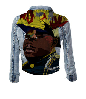 Men Custom Hand Painted Marcus Garvey Artwork on Denim