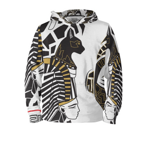 Black & White Abstract Hoodie & Shorts Spandex