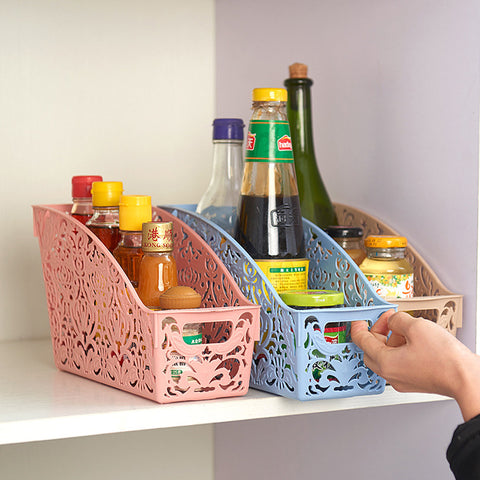 Simple life Thick Plastic Storage Basket Desktop Bathroom Family Sundries Pen Pencil Storage Basket Organizer Vintage Container