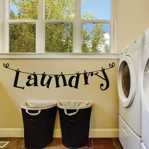 DCTOP Laundry Room Vinyl Wall Sticker Laundry Signs Toilet Decals Home Decor Removable Wallpaper Sticker Color Black Wall Arts