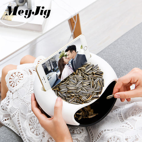 MeyJig Multifunctional Plastic Double Layer Dry Fruit Containers Snacks Seeds Storage Box Garbage Holder Plate Dish Organizer