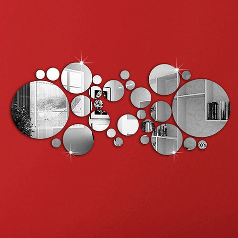 3D DIY Home Decor Silver Circles Mirror Acrylic Wall Stickers Office Art PVC Wall Decal Home Decoration