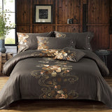 Luxury Tribute Silk Cotton Embroidery Luxury Bedding set Noble Palace Royal Bed set King Queen Size Duvet cover Bedsheet set