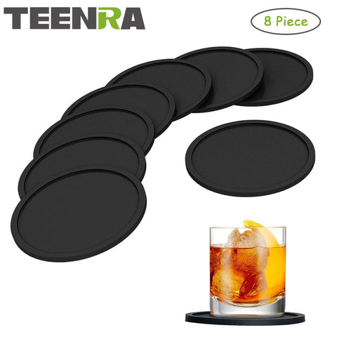 TEENRA 8Pcs Black Silicone Drink Coaster Placemats For Table Mats For Dinner Table Placemat Silicone Cup Pads Set Kitchen