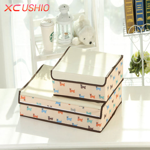 Thickened Oxford Fabric Storage Box Closet Lidded Drawer Divider Bra Underwear Socks Organizer Container Wardrobe Storage Case