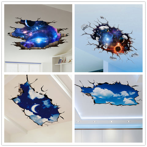 [SHIJUEHEZI] Outer Space 3D Wall Sticker Cosmic Galaxy Wall Decals for Kids Room Floor Decoration Blue Sky Ceiling Stickers