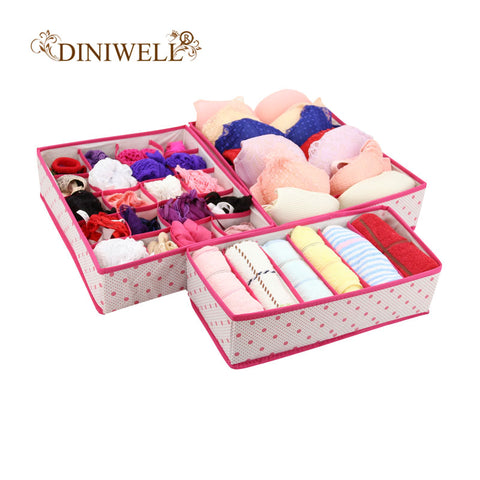 DINIWELL 1 Set  Collapsible Storage Boxes For Bra Underwear Folding  Closet Organizer Drawer Divider Container