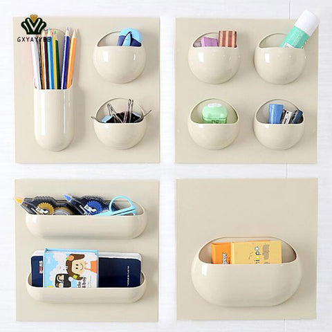 1PcsHome Multi-Purpose Wall Paste Storage Shelf Hanging Bath Kitchen Organizer Racks Seamless Paste Strong Reusable Storage Box