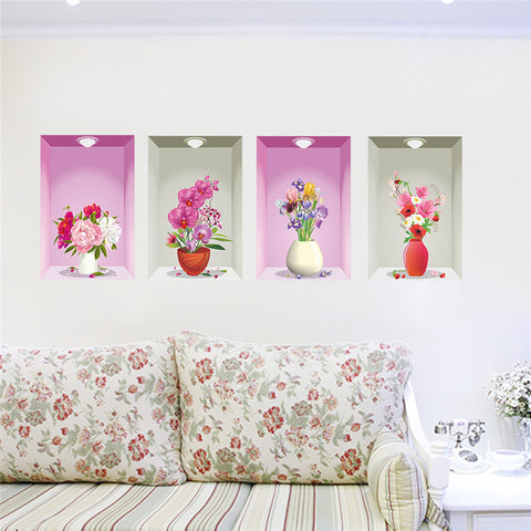 3d wall hole window view art 4 flower flora pot light sticker scenery home decor poster living room wall art store office decals