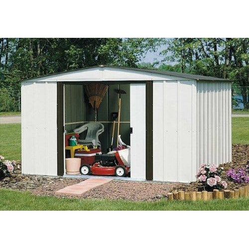 Arrow Newburgh Low Gable Steel Storage Shed, Coffee/Eggshell, 10 x 8 ft.