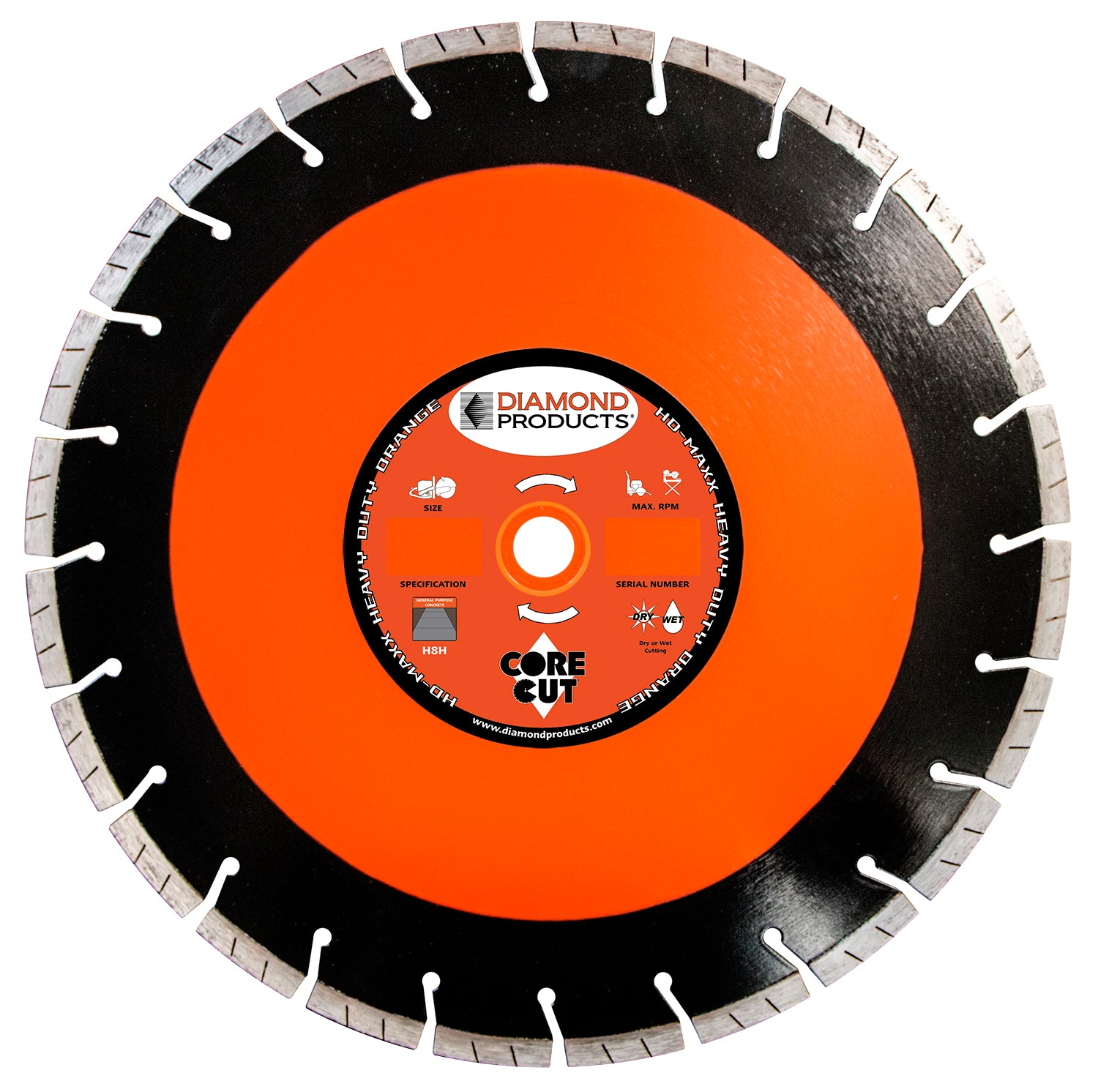 "16"" x .125 x UNV Heavy Duty Orange MAXX High Speed Blade with 1"" and 20mm universal arbor"