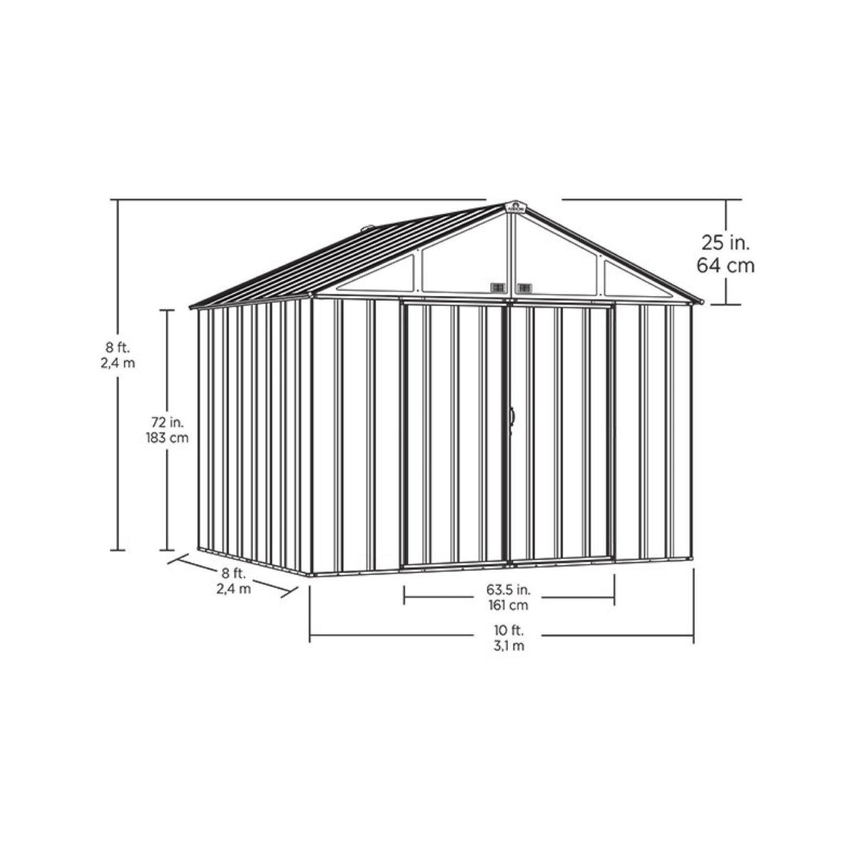 Arrow EZEE Shed Extra High Gable Steel Storage Shed, Cream, 10 x 8 ft.