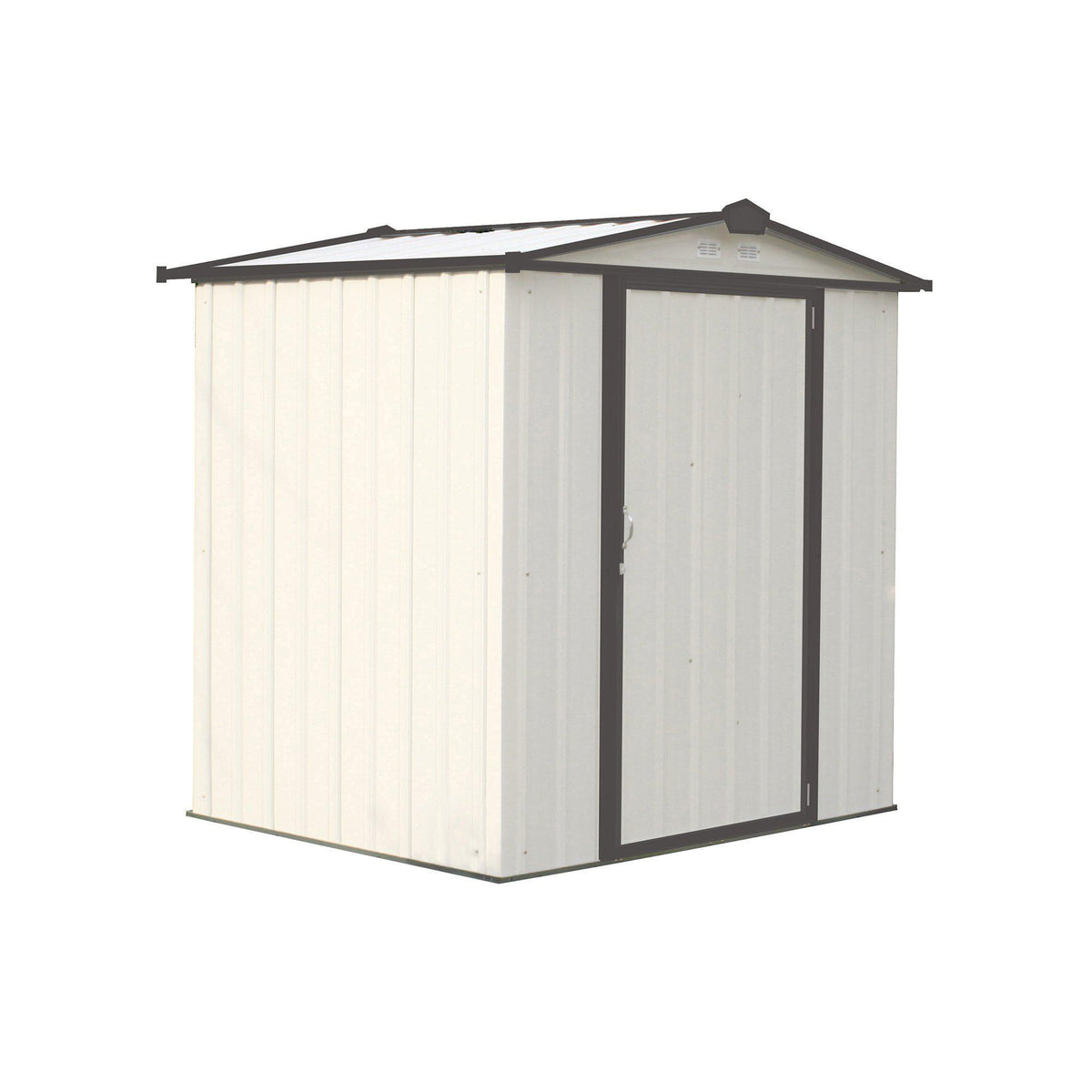 Arrow EZEE Shed Low Gable Steel Storage Shed, Cream/Charcoal Trim, 6 x 5 ft.