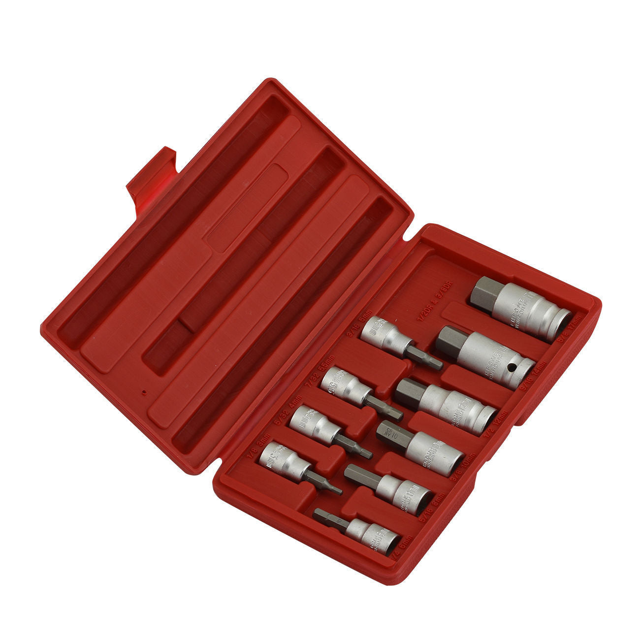 "10 piece 3/8"", 1/2"" Drive Metric Hex Bit Socket Set"