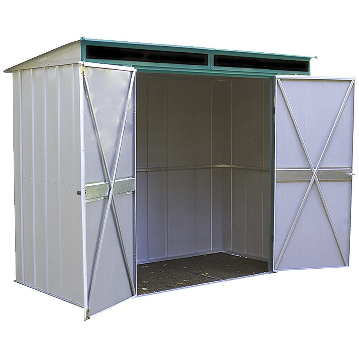 Arrow Euro-Lite Steel Storage Pent Shed, Green/Eggshell, 8 x 4 ft.