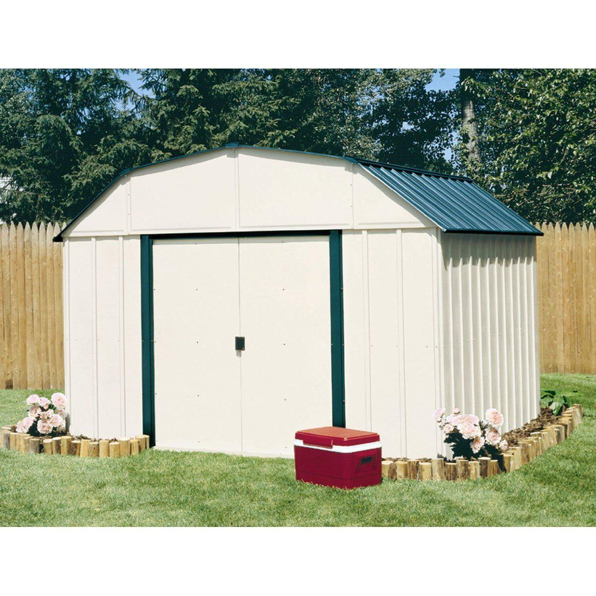 Arrow Vinyl Sheridan Steel Storage Shed, Meadow Green/Almond, 10 x 8 ft.