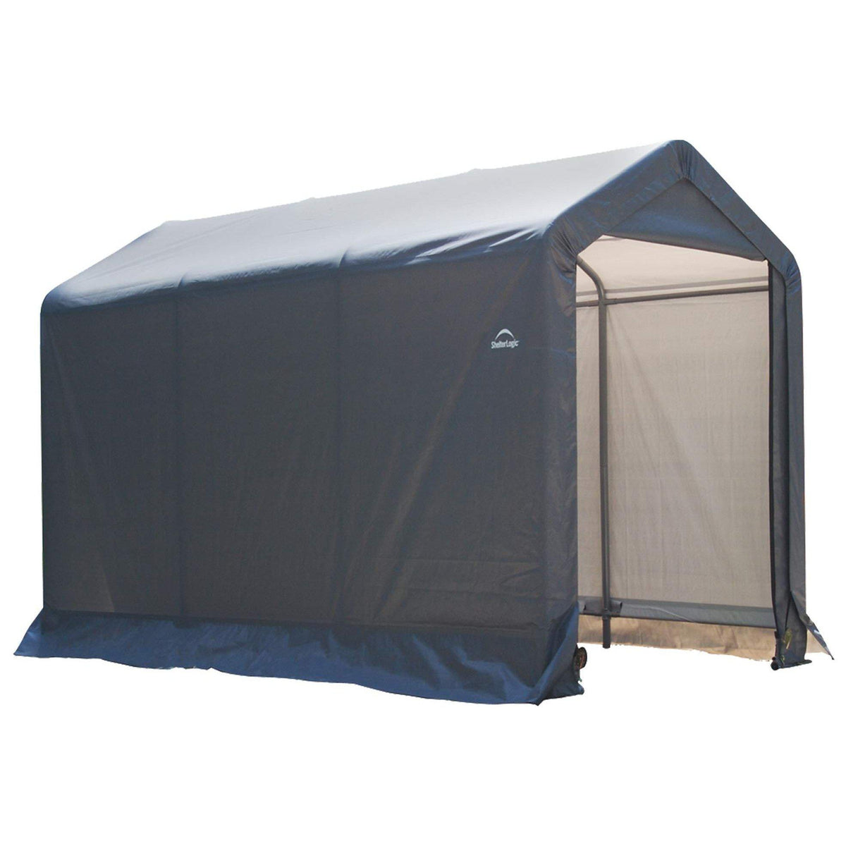 6Ft x 10 Ft ShelterLogic Shed-in-a-Box with Auger Anchors, Peak, Gray