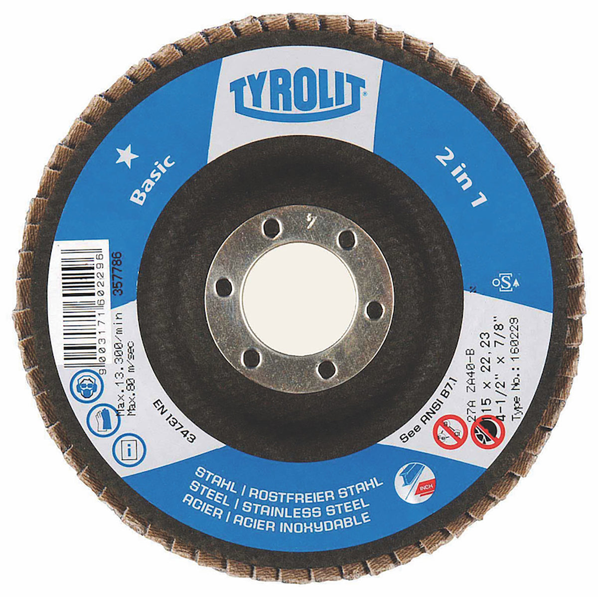 "10PC 4-1/2"" x 7/8"" Tyrolit Abrasives BASIC 2-in-1 Zirconia Flap Disc"
