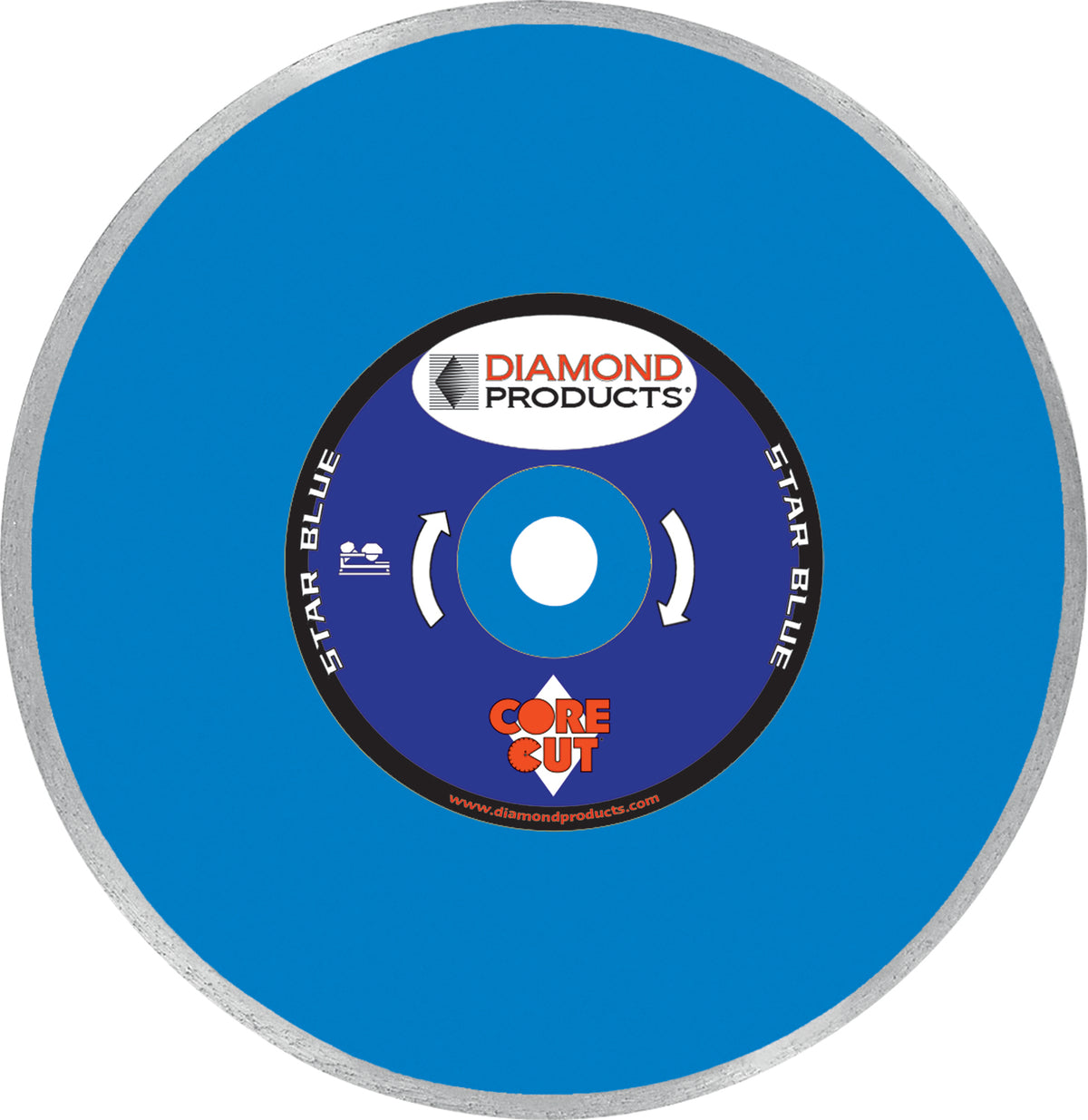 "7"" x .060 x <> 7/8"" Star Blue Tile Blade with diamond arbor and 7/8"" (removable) bushing"
