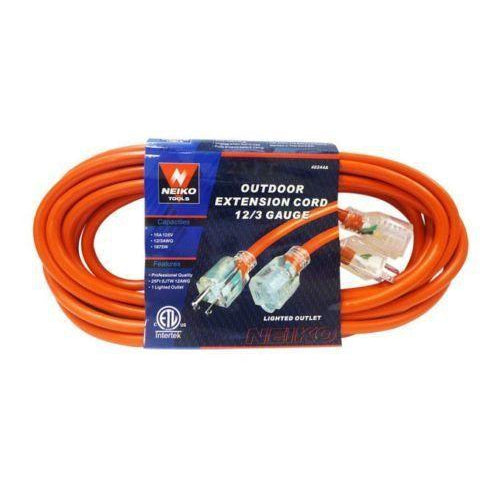 50 foot Extension Cord Lighted 12/3 Gauge Indoor Outdoor Heavy Duty Orange