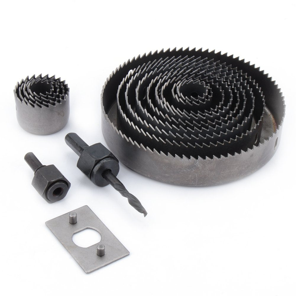 16 pcs Carbon Steel Metal Wood Hole Saw Kit Circle Cutter Round Drill Bits in Case with Mandrels and Install Plate for Door Knob Lock