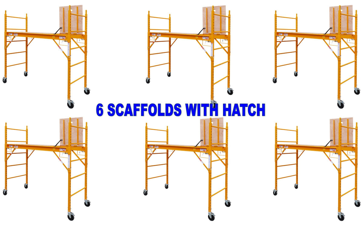 "6 Complete Scaffold Rolling Towers 29""W X 6'H Deck aka Perry Baker Scaffolding"