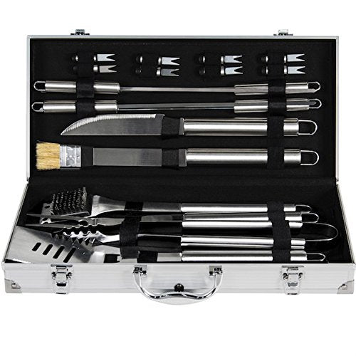 19 PCS BBQ Grill Accessories Tool Set With Aluminum Storage Case Stainless Steel Basting Grill Brush Knife Prongs Tongs Corn Fork Spatula Skewer
