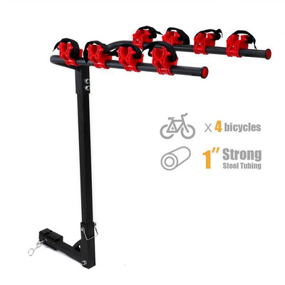 "Hitch Mounted 4 Bike Rack Carrier 1-1/4' & 2"" Hitch Receiver"