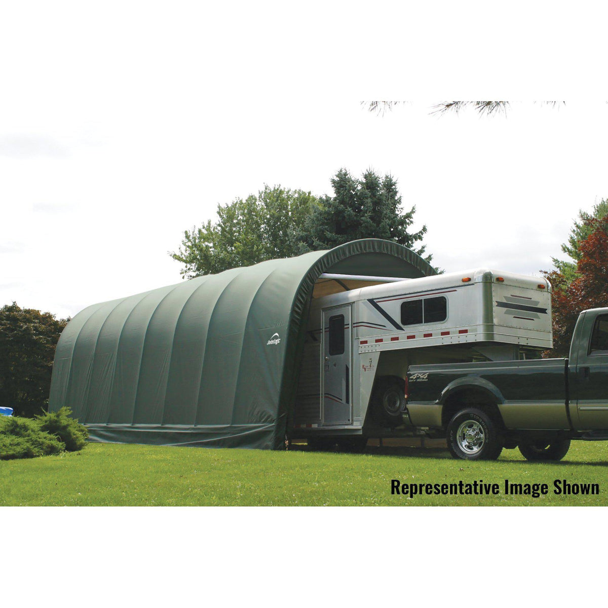 ShelterLogic Garage 15 x 24 x 12 Round Standard Green