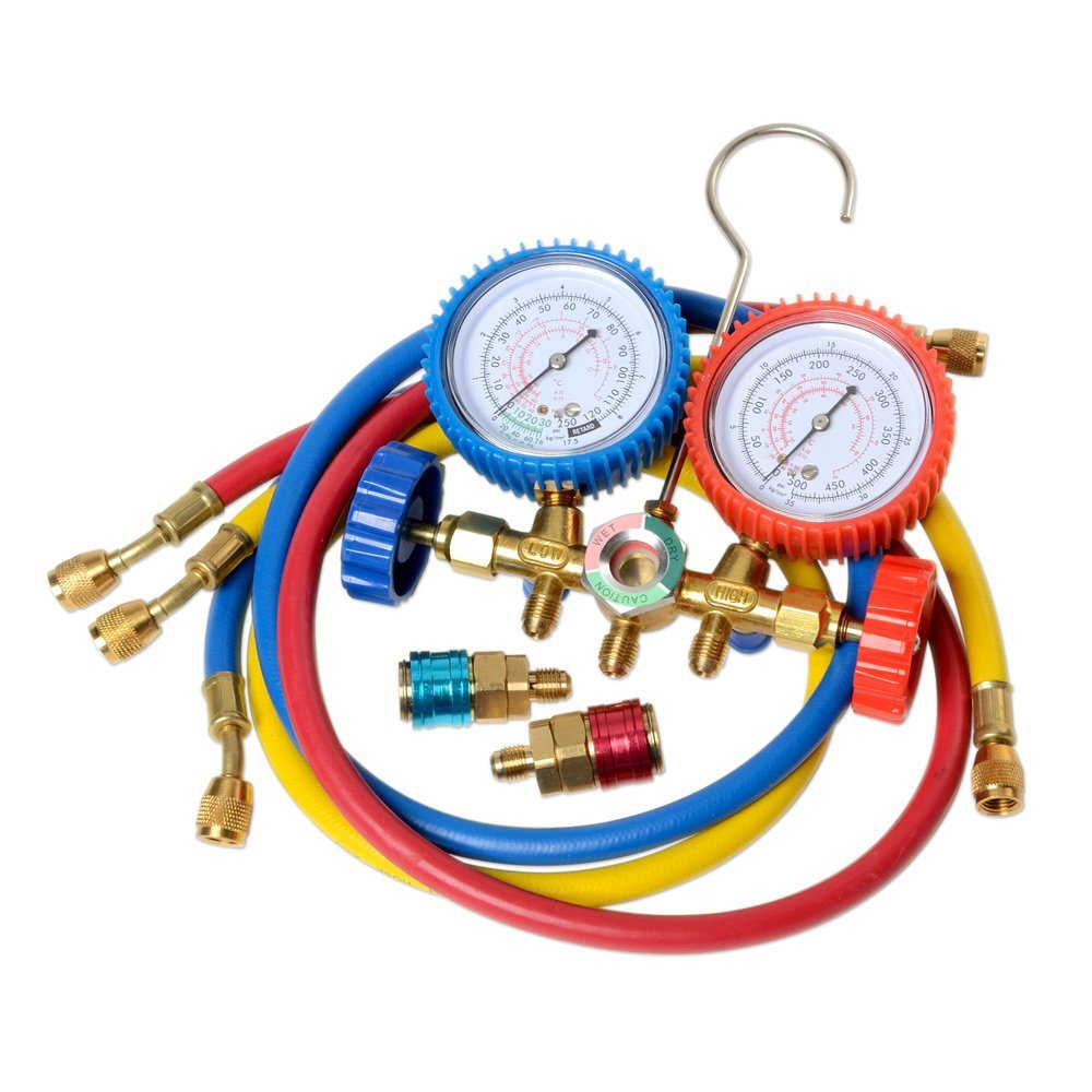 5 FT AC Diagnostic Manifold Freon Gauge Set for R134A R12, R22, R502 Refrigerants, with Couplers and ACME Adapter