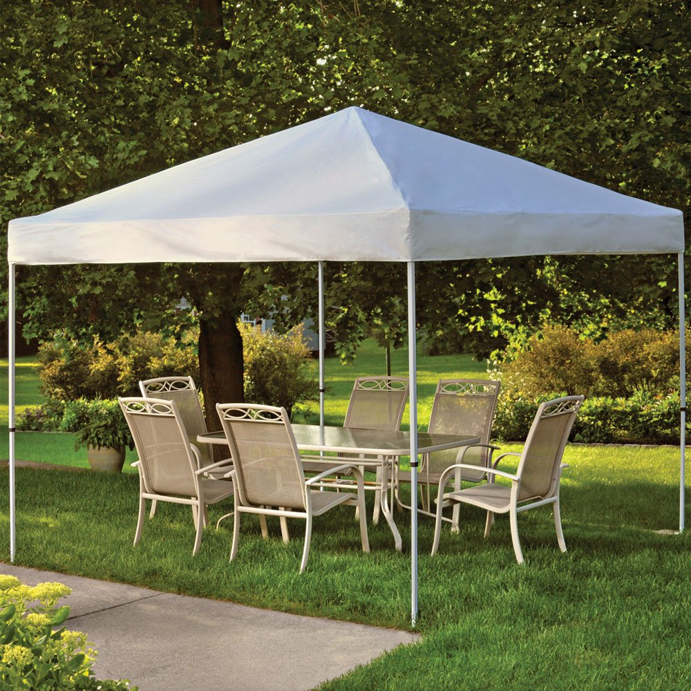 ShelterLogic Pop-Up Canopy - 10ft.L x 10ft.W, Open Top, Straight Leg, Green, Model# 22565