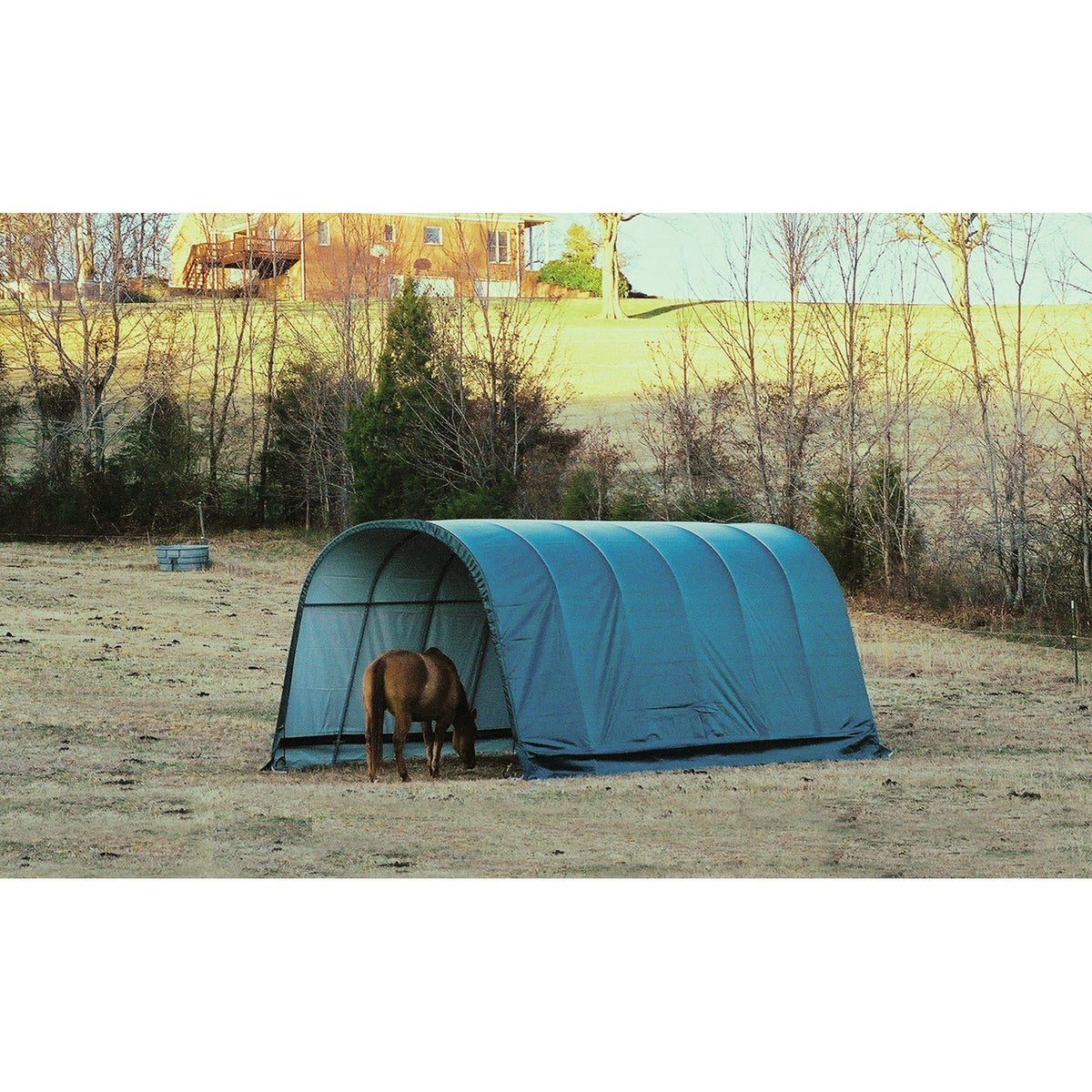 ShelterLogic Round Style Run-In Shelter, Green, 12 x 20 x 10 ft.