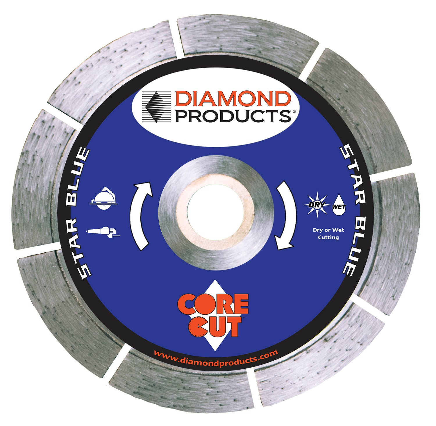 "7"" x .080 x <>7/8"" Star Blue Small Diameter with diamond arbor and 7/8"" (removable) bushing"