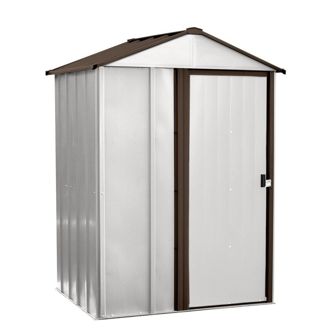 Arrow NW54 Low Gable Galvanized Steel Storage Shed, 5 x 4', Coffee/Eggshell