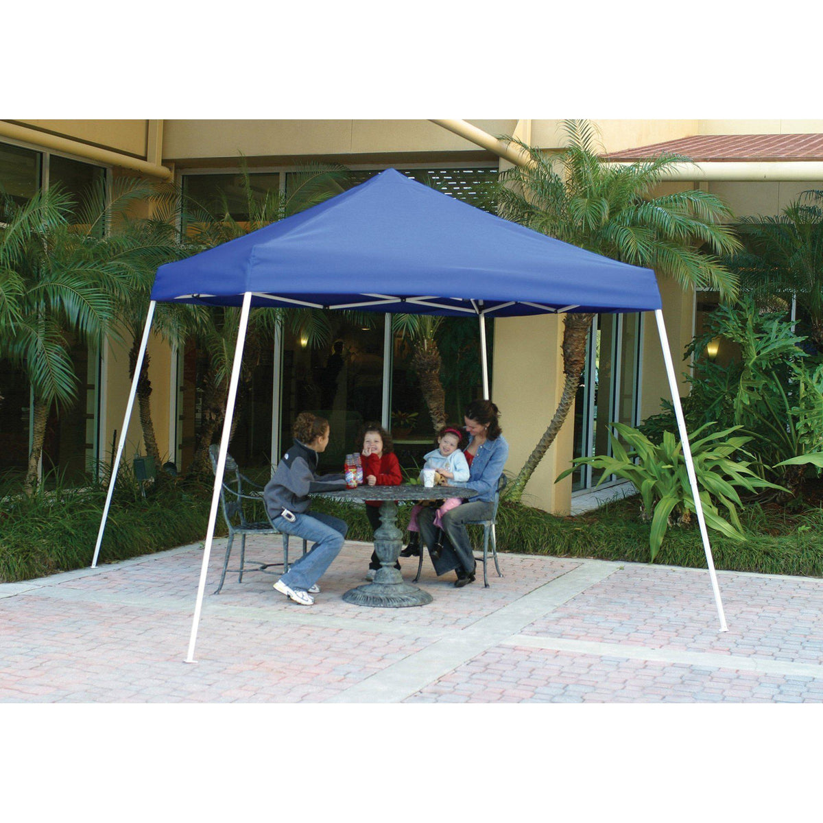 10x10 Slant Leg Pop-up Canopy, Blue Cover, Blue Roller Bag