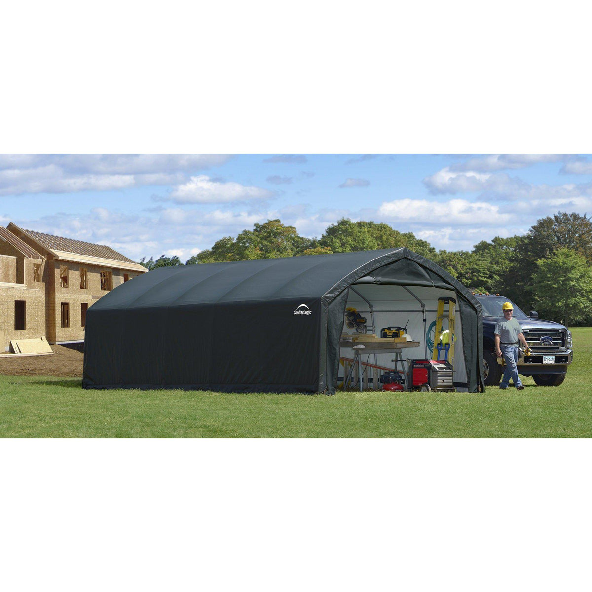 ShelterLogic 84580 Shelter ft Garages, 12 x 25 x 9', green